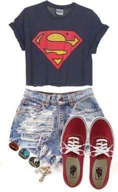 Superman shirt, jean shorts, and vans