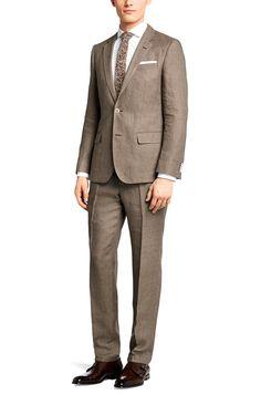 BOSS Slim-Fit Anzug ´Hedson/Gander` aus Leinen Beige versandkostenfrei bestellen!