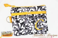 Personalized coin purse with front pocket for Id, credit/debit cards.