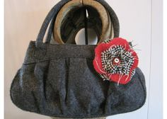 A Bag Handbags Purses Upcycled Recycled Purse Charcoal Grey with Red Wool and Tweed Flower Pin Repurposed