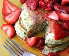 LEMON POPPY SEED PANCAKES.