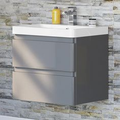 Denver II Gloss Grey Built In Basin Drawer Unit - Wall Hung 10 Year Warranty Stylish storage unit, combining a built in stone resin basin with the practicality of storage drawers for all of your bathroom essentials Luxurious gloss grey finish Bathroom Sink Vanity Units, Wall Hung Bathroom Vanities, Basin Vanity Unit, Wall Hung Vanity, Bathroom Storage, Sinks, Bathroom Ideas, Loft Bathroom, Bathroom Photos