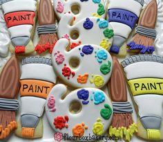 Painting themed sugar cookies