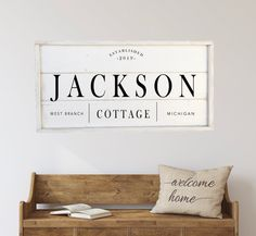 Excited to share this item from my shop: Cottage sign, custom sign, framed shiplap wood sign Shiplap Wood, White Shiplap, Home Decor Signs, Diy Signs, Pantry Sign, Cabin Signs, Cottage Signs, Wood Wedding Signs, Rustic Chair