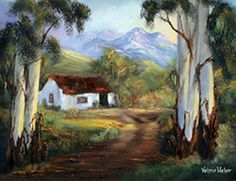 "Traveling through the Baviaans Kloof in the Eastern Cape, South Africa and we came upon this deserted farmhouse and I said, ""I just have to paint this house! Landscape Art, Landscape Paintings, Tree Paintings, African Paintings, South African Artists, Watercolor Paintings, Watercolours, Beach Cottages, Lovers Art"