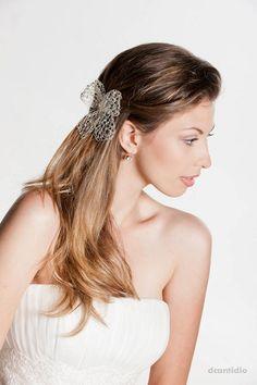 Laço cabelo noiva - Laço quadriculado dcantidio