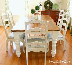 BentleyBlonde: DIY Farmhouse Table & Dining Set Makeover with Annie Sloan Chalk Paint®