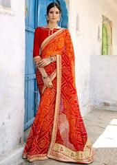 Red Color Georgette Festival & Function Wear Sarees : Selina Collection  YF-43377