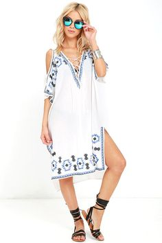 Embroidered Cover-Up - Lace-Up Top - Ivory Cover-Up - $49.00 | Find Out More & Where To Buy By Clicking Picture | affiliate link | TheProductPromoter.com