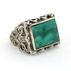 925 Sterling Silver Men's Ring with Malachite