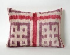 Velvet Ikat Pillow Cover Pale Red Purple Soft Velvet by pillowme