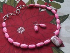 Pink Turquoise Beads Chain Necklace Earrings by Deanasprairiegems $58.59 Free shipping 20% off Coupon Code November2015