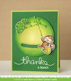 Lawn Fawn Video A Monkey Slider Card by Yainea! Swing Card, Lawn Fawn Blog, Slider Cards, Lawn Fawn Stamps, Interactive Cards, Card Making Techniques, Animal Cards, Card Sketches, Folded Cards