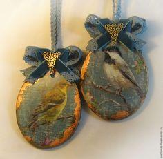 """Купить Подвески """"Винтажные птички""""(резерв) - подвески на елку, интерьерное украшение, винтаж и ретро, елочные игрушки"""