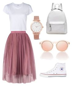 """""""Tulle skirt is a must"""" by an1ban1 ❤ liked on Polyvore featuring Converse, RE/DONE and Larsson & Jennings"""