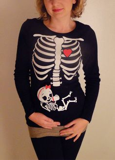 Halloween Skeleton Shirt, Halloween Costume Tshirt, Skeleton Baby GIRL Pregnancy Maternity Shirt