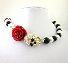 Day of the Dead Jewelry Sugar Skull Necklace by sweetie2sweetie, $31.99