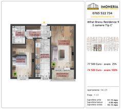 Apartamente de vanzare Mihai Bravu Residence 9 -2 camere tip C' Utila, Floor Plans, Diagram, Floor Plan Drawing, House Floor Plans