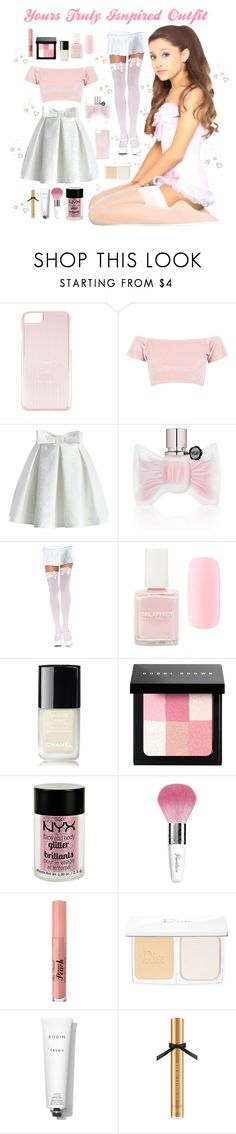 """Yours Truly Inspired Outfit ♡"" by xx-isabella-xx ❤ liked on Polyvore featuring Kenzo, Boohoo, Chicwish, Viktor & Rolf, Leg Avenue, Forever 21, Chanel, Bobbi Brown Cosmetics, Charlotte Russe and Guerlain"
