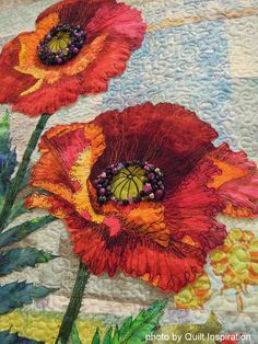close up, Two Red Poppies by Jan Soules. Highlights of the 2014 River City Quilters' Guild Show, photo by Quilt Inspiration.