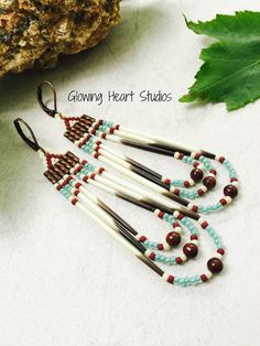 Rustic porcupine quill earrings  red jasper by GlowingHeartStudios