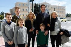 The former Crown Prince Family of Greece arrived in Athens, Greece for the 50th anniversary memoral to King Paul I of  Greece at Tatoi Palace 3/5/2014
