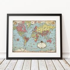 Pictoral World Map Early Explorers, World Map Poster, Sea Creatures, 1930s, Vintage World Maps, Photo And Video, Instagram, Room, Photos