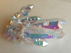 Aqua aura crystal cluster double terminations Arkansas Quartz specimen by MudStonesandMustangs on Etsy