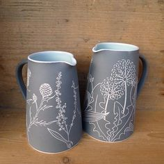 I've just listed these two large jugs on my Etsy shop, the one on the right holds a generous one and a half pints which is a lot of Christmas gravy! #ceramics #stoneware #sgraffito #handmade #wildflowers #thistles #dandelion #jug #pitcher #madeinscotland #perfectgift #shopsmall #shoplocal #wholelottagravy