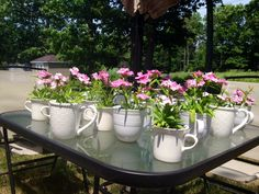 Coffee cup table decor for Mom's 75th birthday