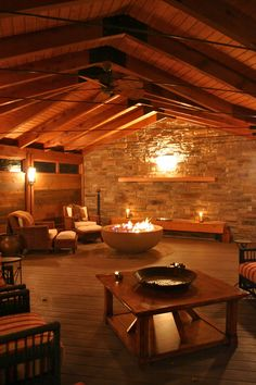 Indoor Fire Pit - COZY! _ I think this must be alcohol fueled since there's no venting. Kuhl Design Build.