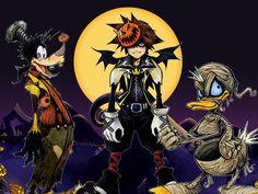 Kingdom Hearts Halloween Town Sora Donald Goofie Nightmare Before Christmas