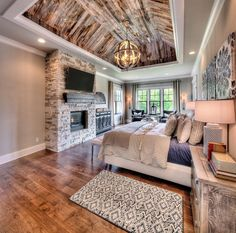 Refreshing Master Bedroom Design Ideas that will inspire you to make your bedroom modern, elegant, and warm. So, you will love your master bedroom. Rustic Master Bedroom Design, Huge Master Bedroom, Bedroom With Bath, Home Decor Bedroom, Bedroom Ideas, Dream Bedroom, Master Suite, Bedroom Rustic, Diy Bedroom