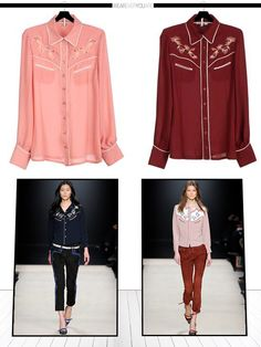 From catwalk to sidewalk: The Western Shirt  Isabel Marant (621 €)  vs Biscote (139 €) : Can you spot the differences ?