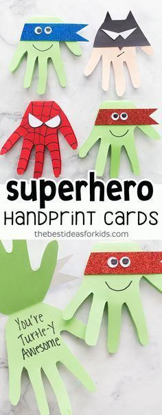 This Superhero craft is easy and so fun to make! Make Spiderman, Batman, Ninja Turtle cards with handprints. Kids will love making these! superhero batman spiderman ninjaturtle via 704954147895549988 Projects For Kids, Diy For Kids, Craft Projects, Craft Ideas, Hand Crafts For Kids, Easy Crafts, Arts And Crafts, Paper Crafts, Creative Crafts