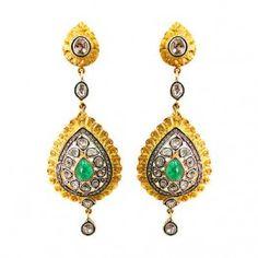 14K Gold 4.70ct Emerald Rose Cut Diamond Dangle Earrings Sterling Silver Jewelry