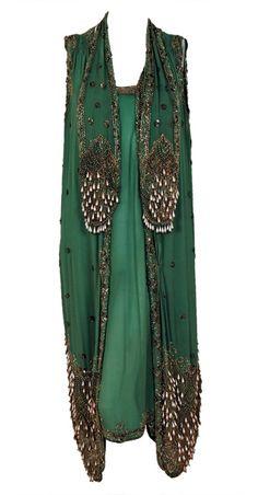 circa 1920 :: beaded silk chiffon with metallic lace dress