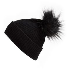 Halogen Faux Fur Pom Cashmere Blend Beanie ($44) ❤ liked on Polyvore featuring accessories, hats, beanie, black, pom beanie, pom pom hat, black pom pom beanie, beanie cap hat and beanie hats