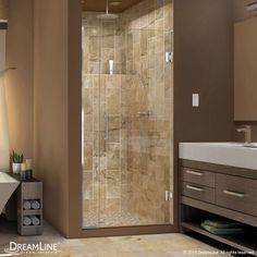 "DreamLine SHDR-243157210 Unidoor Plus 72"" High x 32"" Wide Hinged Frameless Showe Chrome Showers Shower Doors Swing"