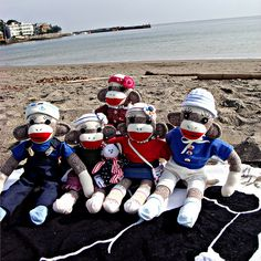 Red, white and blue sock monkeys