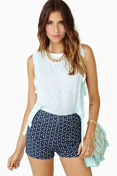Ruffled Muscle Tee in Mint by Chaser