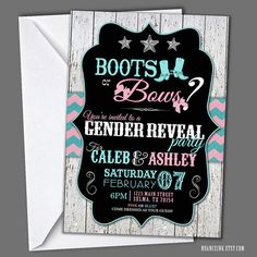 Boots or Bows Gender Reveal Invitations baby shower by NuanceInk