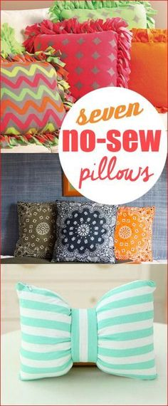 7 No-Sew Pillows. Fun projects that will spice up your house with a few tips an… 7 No-Sew Pillows. Fun projects that will spice up your house with a few tips and tricks. Add color and style to your home with these simple pillow projects. How To Make Pillows, Diy Pillows, Decorative Pillows, Pillow Crafts, No Sew Cushions, Homemade Pillows, Funny Pillows, Sewing Projects For Beginners, Fun Projects
