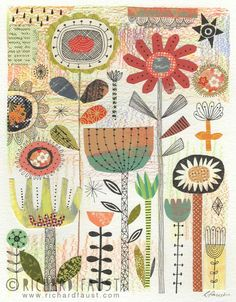 ©Richard Faust - 'Garden' collage on paper Illustrations, Illustration Art, Paper Collage Art, Flower Doodles, Arte Popular, Arte Floral, Applique Quilts, Fabric Art, Textile Art