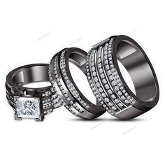 2.71 Ct. D/VVS1 Princess & Round Cut Diamond Black Gold Over  Trio Ring Set #giftjewelry22