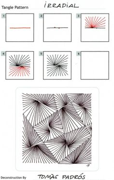 Online instructions for drawing Tomàs Padrós's Zentangle® pattern: Irradial. Zentangle Drawings, Doodles Zentangles, Doodle Drawings, Doodle Art, Zen Doodle Patterns, Zentangle Patterns, Tangle Doodle, Tangle Art, Pattern Drawing