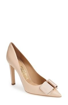Free shipping and returns on Salvatore Ferragamo 'Mimi' Pump (Women) at Nordstrom.com. A signature grosgrain bow threads through a logo-embossed metal buckle atop a modern pointy-toe pump lifted by a setback heel.