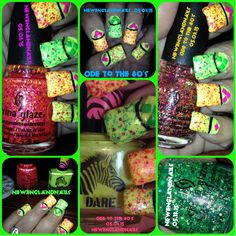 """@chinaglazeofficial #nubar #bynubar @broad_way_nails @ChinaGlaze @BwayNails @bynubar @ChinaGlaze @BwayNails @bynubar So here are my nails for this week...It's all China Glazes' fault because I couldn't decide which matte confetti polish to use from their new Electric Nights collection...so now I am donning and """"Ode To The 80's"""" nail this week!!  LOL!!  Hope ya'll like 'em."""