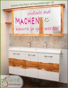Badezimmer mit Wildholz von der Eibe mit Baumkante im oberen Bereich Vanity, Full Bath, Bathing, Dressing Tables, Powder Room, Vanity Set, Single Vanities, Vanities, Dresser To Vanity