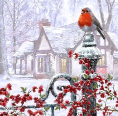 Metaverse Robin On Gatepost By The Macneil Studio Framed Art Christmas Scenes, Noel Christmas, Christmas Animals, Canvas Artwork, Framed Artwork, Illustration Noel, Motifs Animal, Christmas Paintings, Winter Art